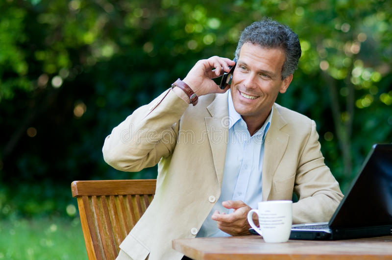 Healthy businessman working outdoor royalty free stock photography