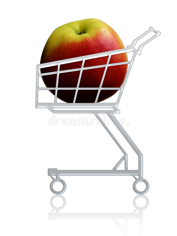 Healthy buy. Apple in a shopping cart stock illustration