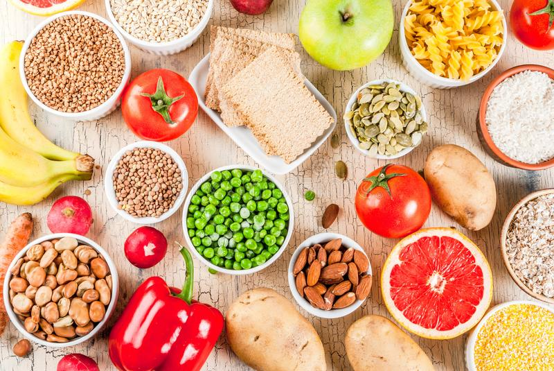 Healthy carbohydrates ingredients royalty free stock photography