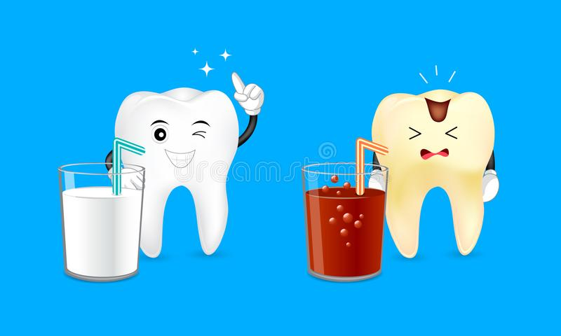 Healthy cartoon tooth with a glass of milk and decayed tooth with a soda. royalty free illustration