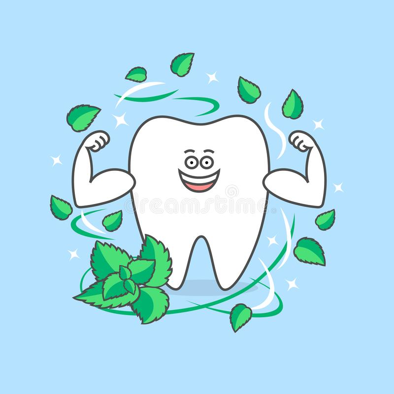 Healthy cartoon tooth with muscles and mint around. royalty free illustration