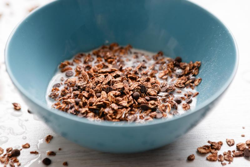 Healthy cereal breakfast. Sweet granola closeup stock photography