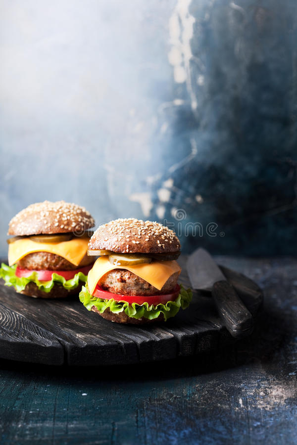 Healthy cheeseburger with whole wheat bun royalty free stock images