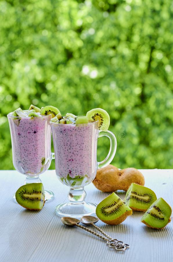 Healthy chia pudding in the glass with sliced kiwi fruit with copy space on the natural green background. Detox superfood. S breakfast or dessert. Side view stock photos