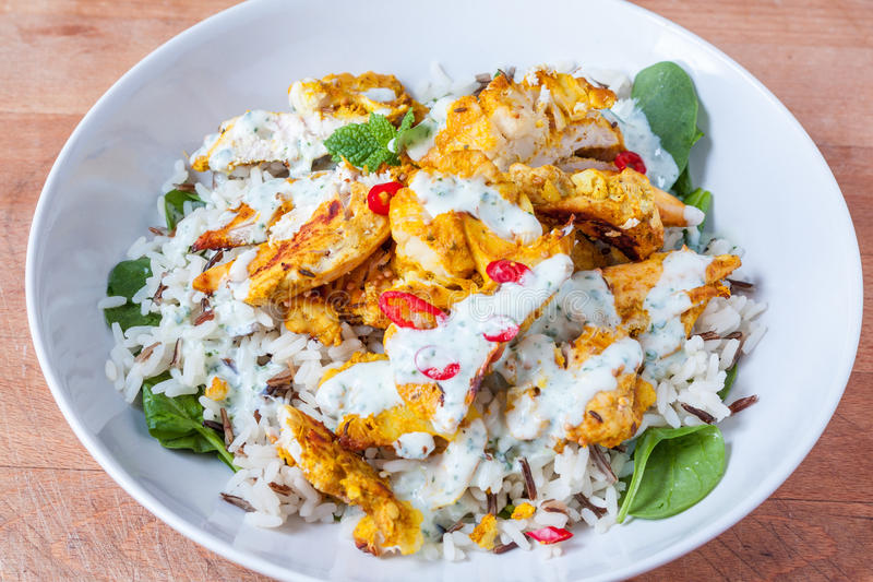 Healthy chicken meal. Tandoori chicken, rice and spinach dish in a white bowl stock photography