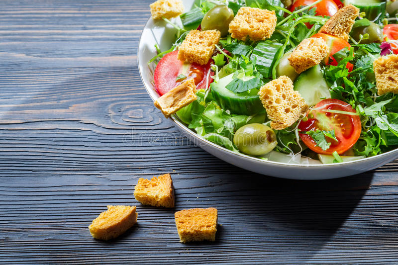 Healthy chicken salad with croutons royalty free stock photography