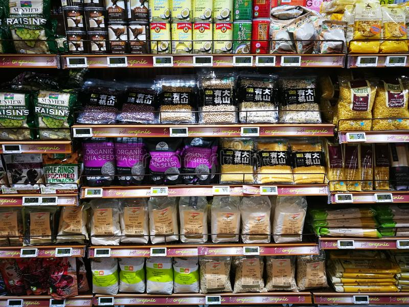 Healthy choice organic foods section, supermarket stock photos