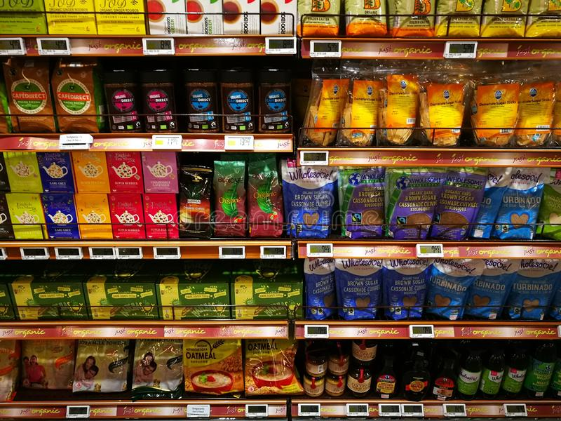 Healthy choice organic foods section, supermarket royalty free stock photos