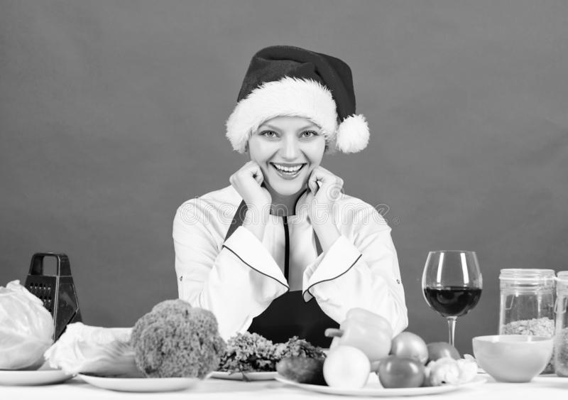 Healthy christmas holiday recipes. Easy ideas for christmas party. Best christmas recipes of perfect housewife. Woman stock images
