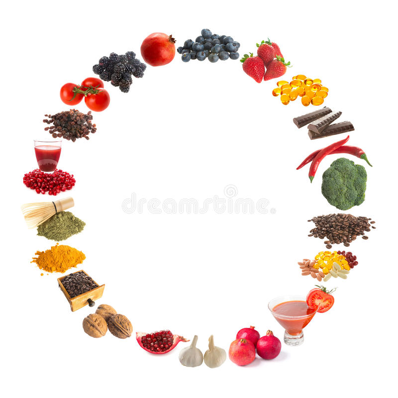 Healthy antioxidants. Healthy circle frame of antioxidants on a white background stock image