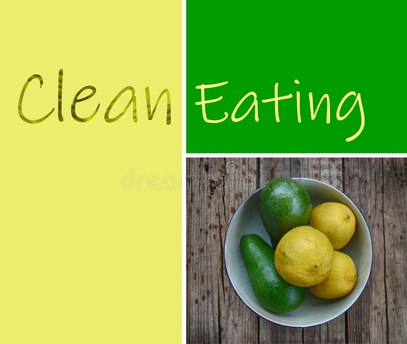Healthy, clean Eating concept collage. Fresh green avocado pears and lemons in a bowl on a wood table, close up and textured. Clean eating words, health concept stock image