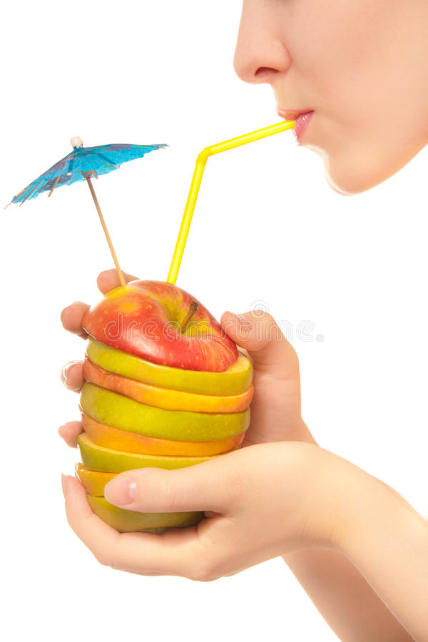 Healthy cocktail of apples royalty free stock photography