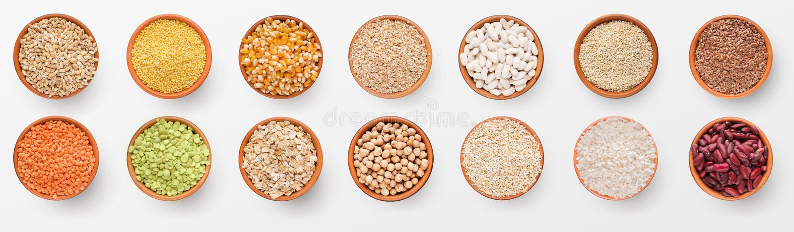 Healthy collection of various grains and beans in bowls royalty free stock photography