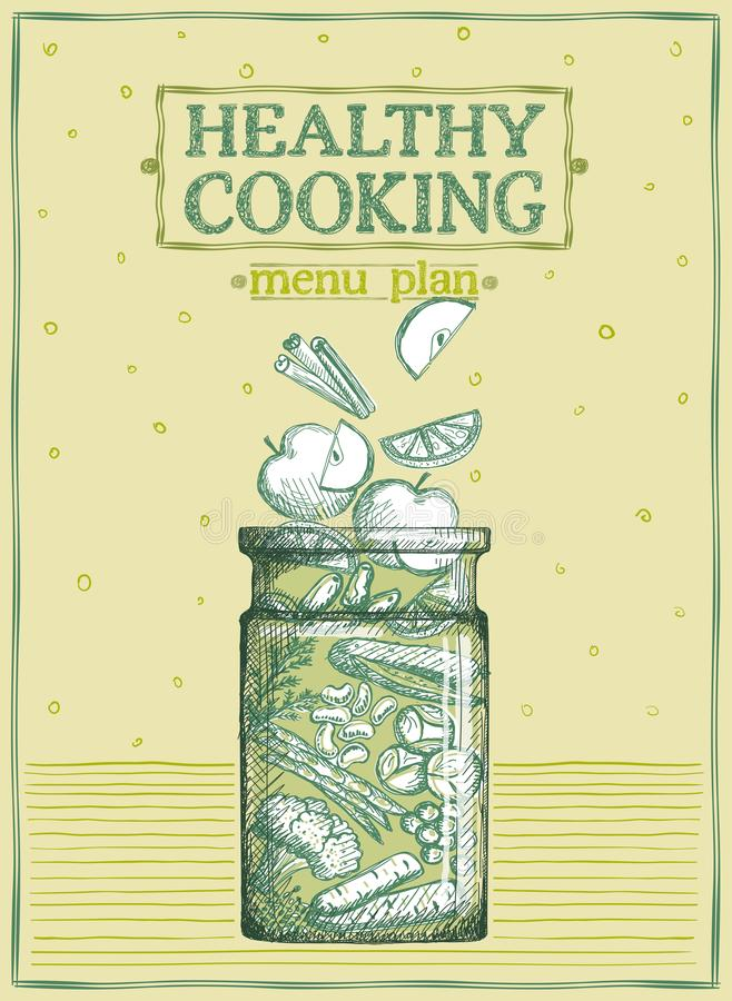 Healthy cooking menu plan, graphic illustration with fruits and vegetables in a glass jar royalty free illustration