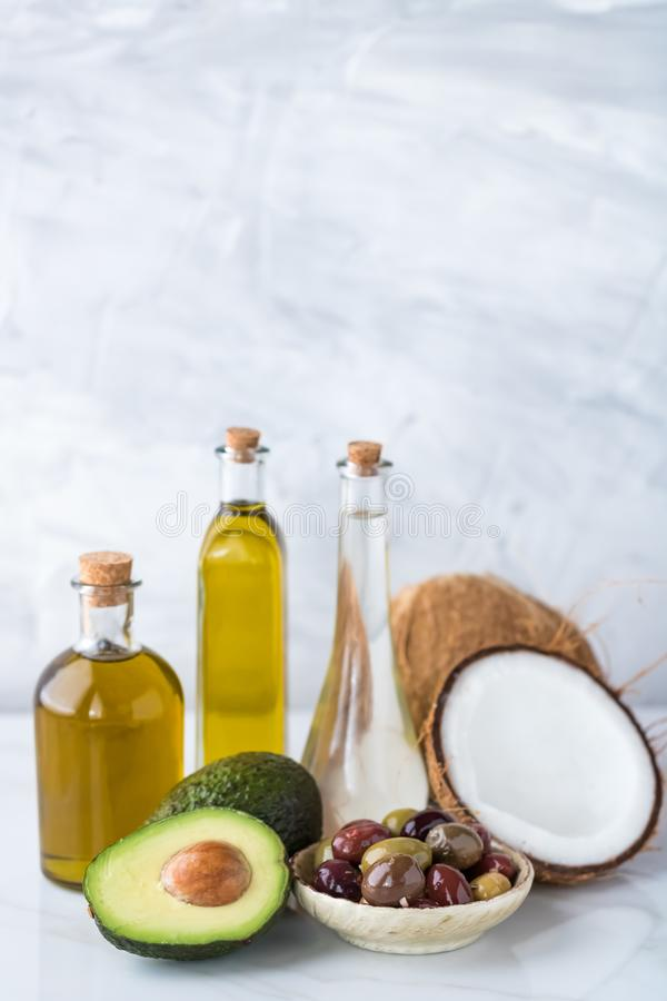 Healthy cooking oils. royalty free stock photos