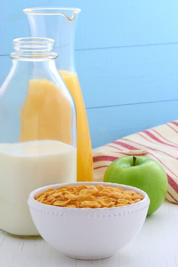 Healthy corn flakes breakfast stock photos