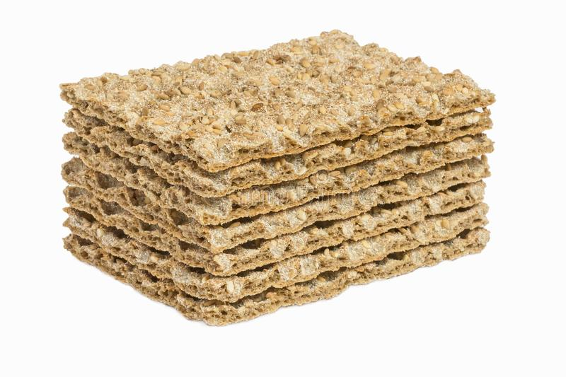 The healthy crispbread isolated on white background. Crispy dietary fitness bread. Food for weight loss. royalty free stock images