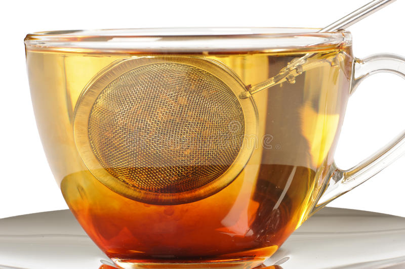 A healthy cup of rooibos tea infusing stock photo