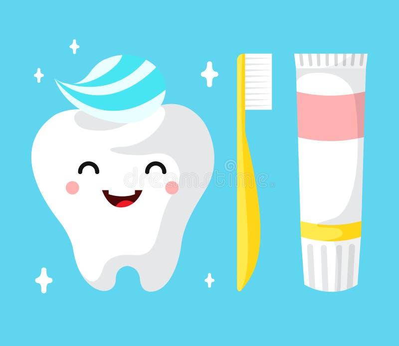 Healthy cute cartoon tooth character vector illustration