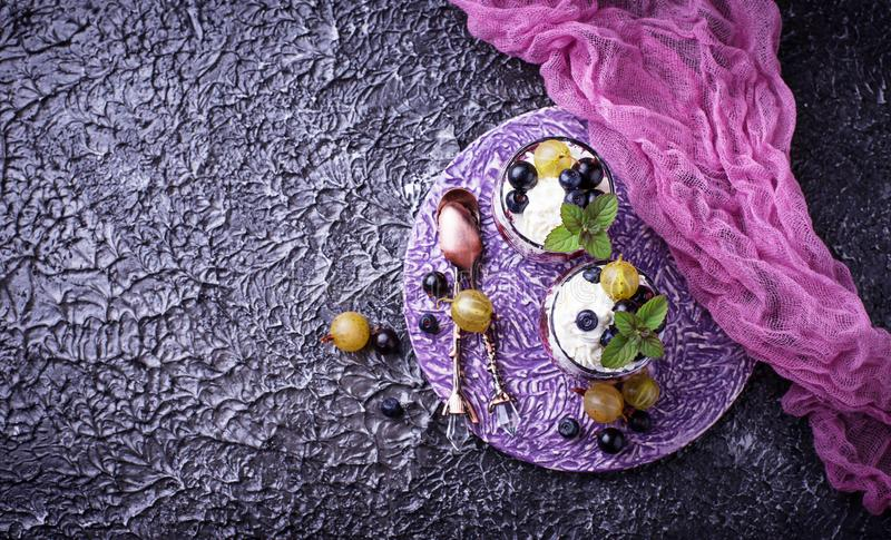 Healthy dessert with berry and cream cheese royalty free stock image