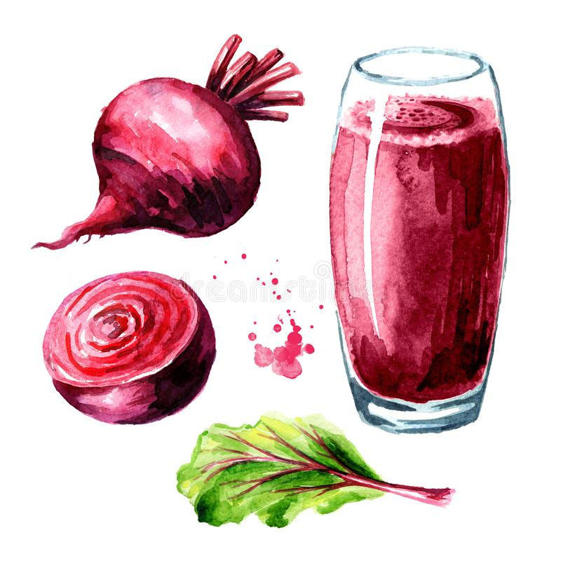 Healthy detox beet smoothie with beetroot set. Watercolor hand drawn illustration isolated on white background.  royalty free illustration