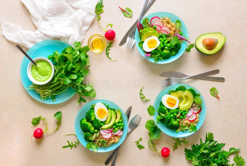 Healthy detox food served in bowls, view from above royalty free stock photos
