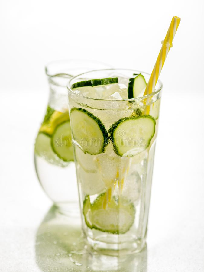 Healthy detox fizzy water with lemon and cucumber in Highball glass. Fresh Summer Drink. Healthy food concept. Detox diet royalty free stock photo