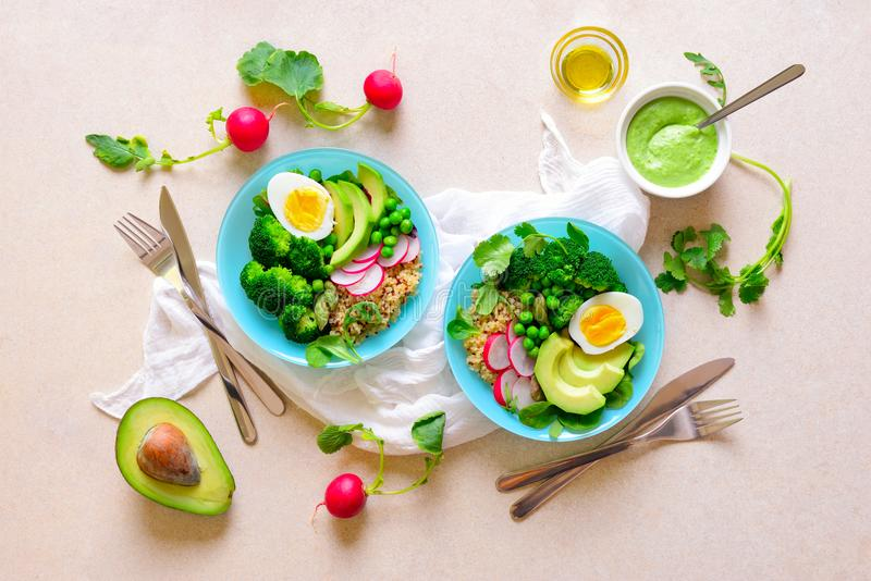 Healthy detox food served in bowls, view from above stock photo