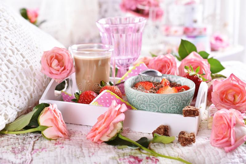 Healthy and diet breakfast in bed in romantic style stock image