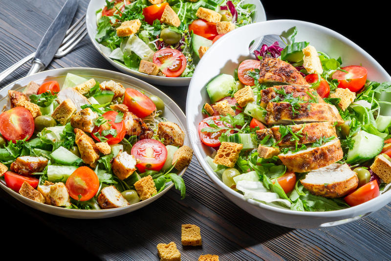 Healthy diet built on the basis salad stock images