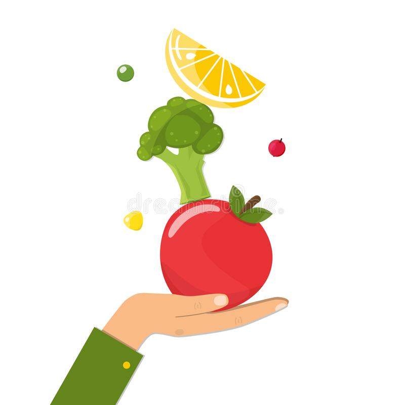 Healthy diet concept. Natural food on female hand. Healthy diet concept. Natural food, fruits and vegetables on female hand. Vector illustration vector illustration