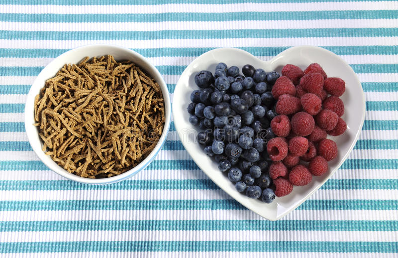 Healthy diet high dietary fiber breakfast with bowl of bran cereal and berries. On white heart plate on aqua blue and white place mat stock photos