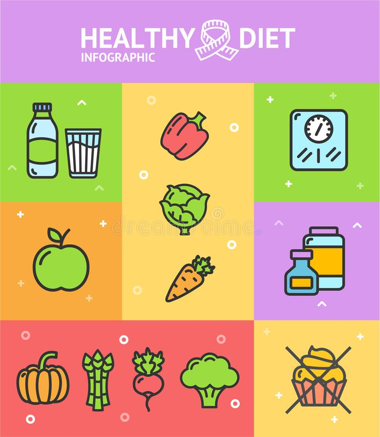 Free Healthy Diet Infographic Banner Card. Vector Stock Images - 102846104