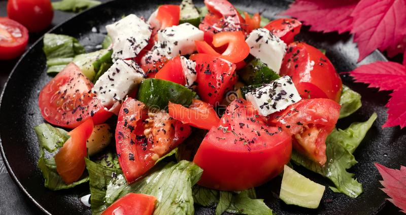 Healthy diet organic greece salad royalty free stock photography