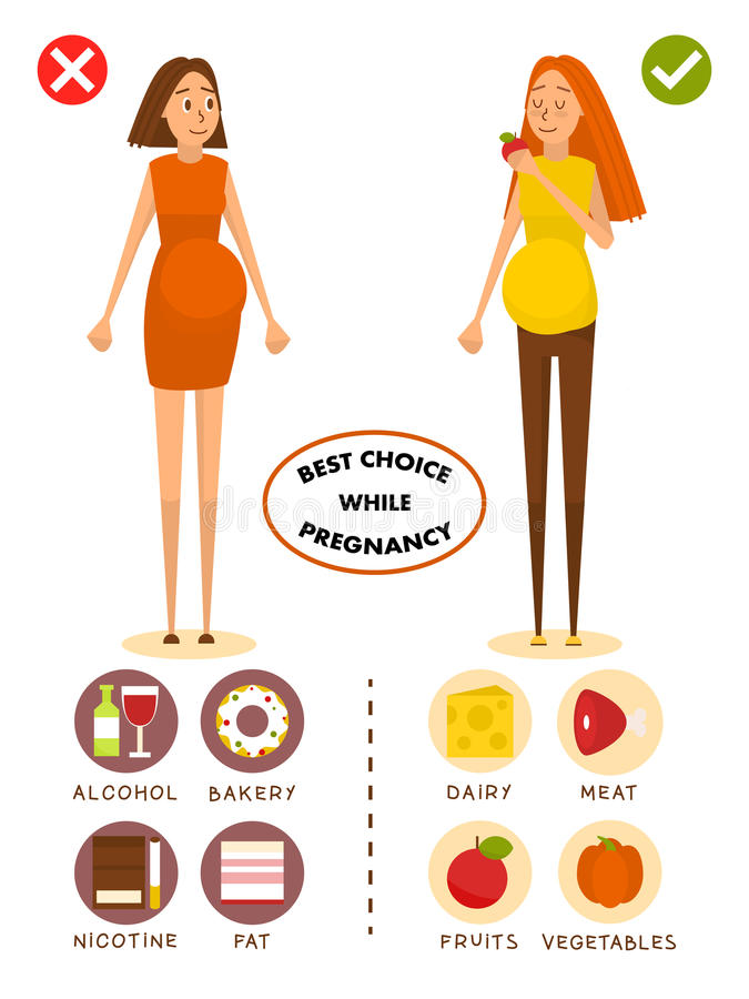 Healthy diet for pregnant woman concept vector poster. Choice of food for girls. Healthy pregnancy, good and bad food royalty free illustration