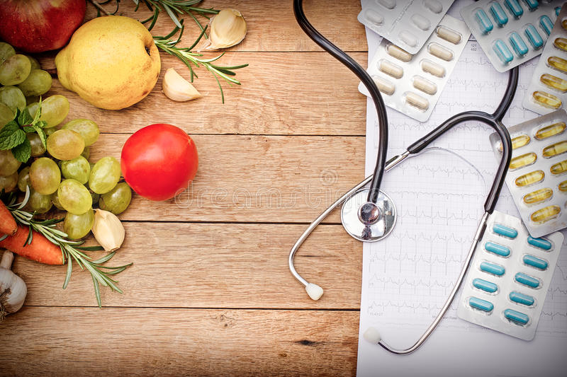 Healthy diet and regular checks of health. Are the foundation of a healthy lifestyle stock photos