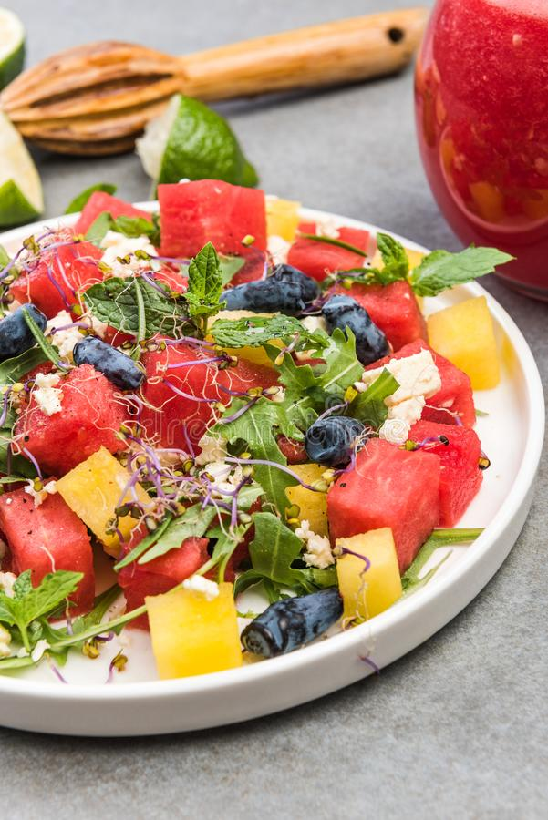 Healthy Diet,Summer Fresh Watermelon Salad with Feta Cheese,Greek Cousine royalty free stock photo