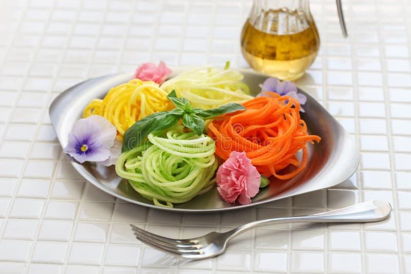 Healthy diet vegetable noodles salad stock photo
