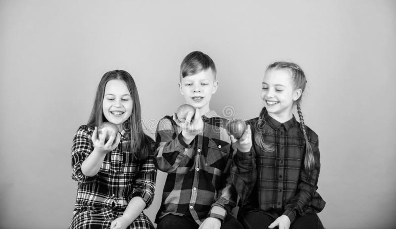 Healthy dieting and vitamin nutrition. Eat fruit and be healthy. Group teenagers hold apples. Healthy lifestyle. Boy and. Girls friends in similar checkered royalty free stock photo
