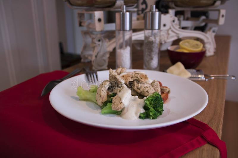 Healthy dish serving stock photography