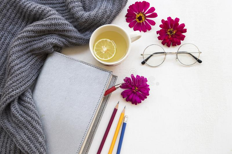 Healthy drinks and notebook planner for business work. Notebook planner for business work and knitting wool scarf in winter season with hot honey lemon herbal stock photography