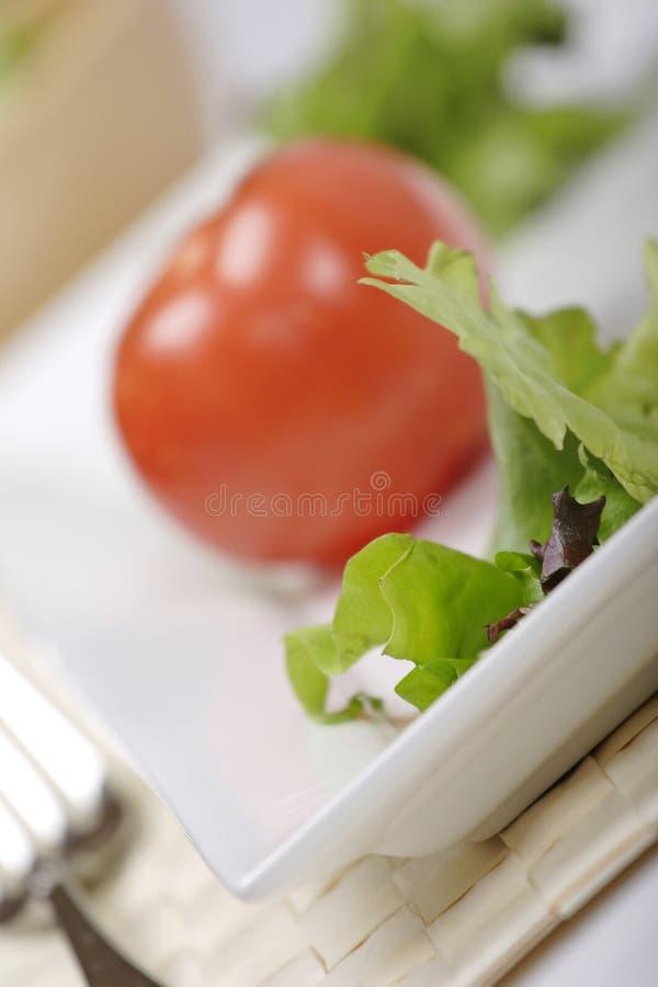 Healthy eating. Freshly prepared salad, focus on lettuce royalty free stock images