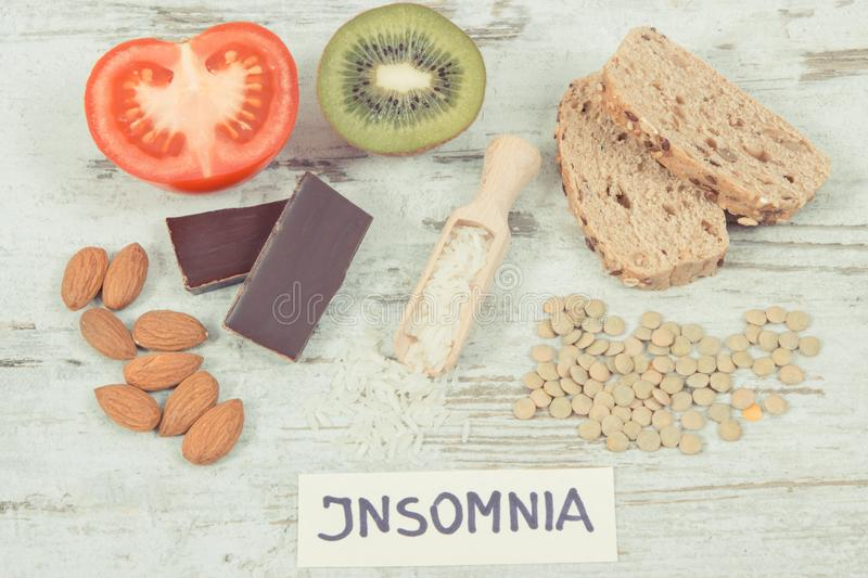 Healthy eating as source melatonin and tryptophan. Best food for insomnia problems. Healthy nutritious eating as source melatonin and tryptophan. Best food for royalty free stock images