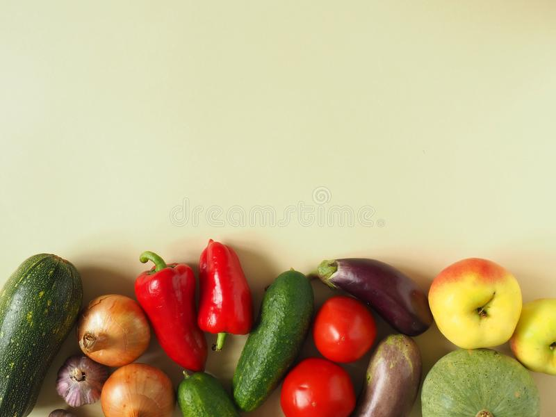Healthy eating background. Food photography different fruits and vegetables isolated white background. Copy space royalty free stock photo