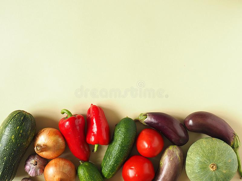 Healthy eating background. Food photography different fruits and vegetables isolated white background. Copy space stock photography