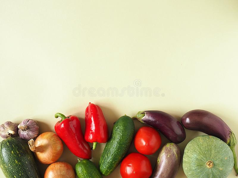 Healthy eating background. Food photography different fruits and vegetables isolated white background. Copy space stock photo