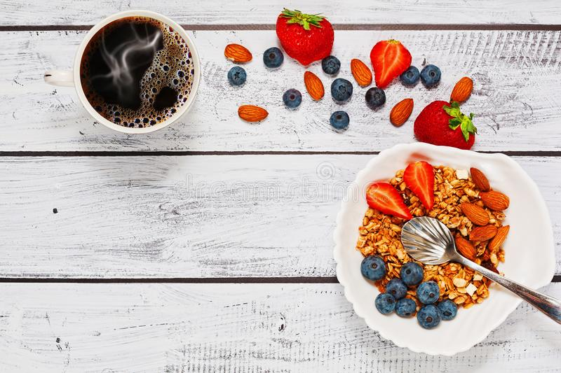 Healthy eating breakfast idea, top view royalty free stock images