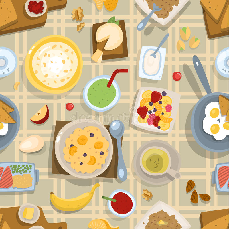 Healthy eating breakfast lunch meal concept with fresh salad bowls on kitchen wooden worktop top view vector seamless stock illustration