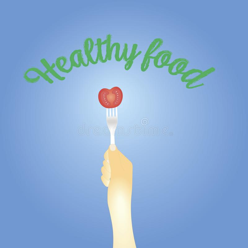 Healthy eating concept. tomato on the fork. vector illustration stock illustration