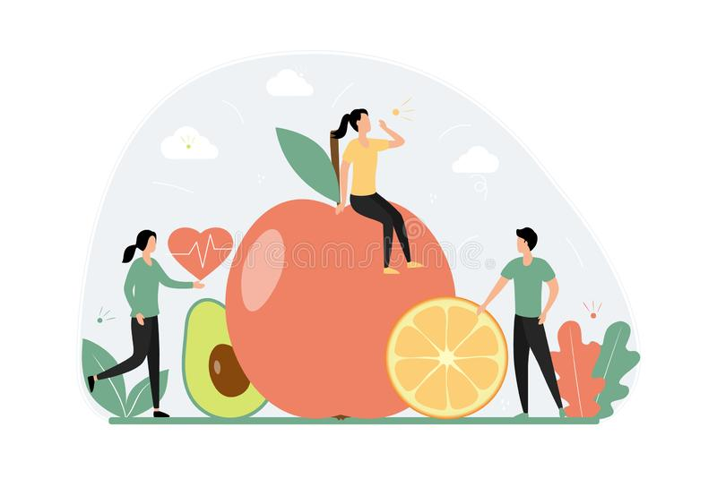 Healthy eating concept. Young tiny people are on a diet. Vegetables and fruits, vegetarian. Food for weight loss, health and sports. Apple, avocado, orange royalty free illustration